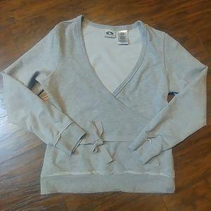 GUC Athletic Works Grey V-Neck Sweatshirt Wm S